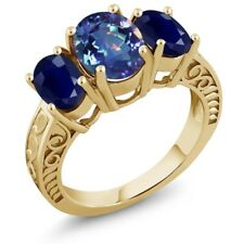3.84 Ct Mystic Quartz Blue Sapphire 18K Yellow Gold Plated Silver Ring
