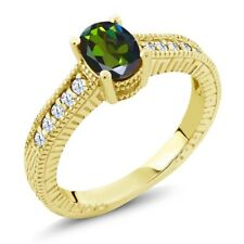 1.35 Ct Mystic Topaz and White Created Sapphire 14K Yellow Gold Ring