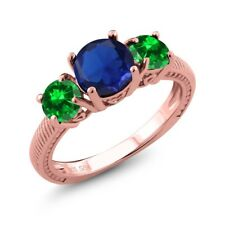 3.35 Ct Simulated Sapphire Simulated Emerald 18K Rose Gold Plated Silver Ring
