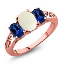 2.05 Ct Cabochon White Opal Simulated Sapphire 18K Rose Gold Plated Silver Ring