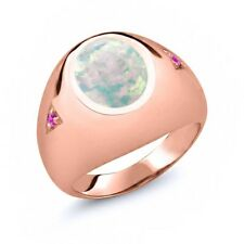 4.10 Ct Cabochon White Opal Pink Sapphire 18K Rose Gold Plated Silver Men's Ring
