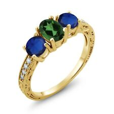 2.12 Ct Mystic Topaz Simulated Sapphire 18K Yellow Gold Plated Silver Ring