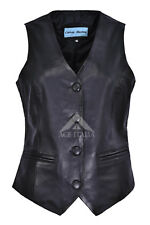 Ladies 5701 New Black Casual Party Fashion Deluxe Real Nappa Leather Waistcoat