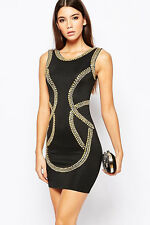 Gold Sequin Embellishment Bodycon Tank Dress LC22492 fashion 2016 women vintage
