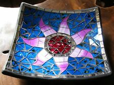 Mosaic Bowl Mirror Coloured Glass Fair Trade Hand Made India Lotus Gift Square