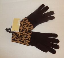 MICHAEL KORS SCARF, HAT & GLOVES SET BROWN/CAMEL  MK LOGO NWT