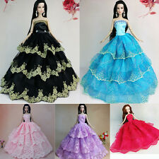 Elegant Handmade Wedding Gown Dress Clothes Party For Princess Barbie Doll Gift