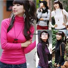 New Women Turtleneck Pullovers Long-sleeve Basic Bottoming Tee Shirt Tops OO55