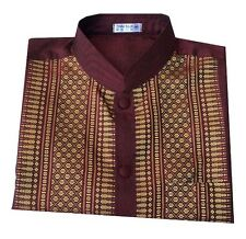 Thai Silk Traditional Men Shirt Short Sleeve Mandarin Band Collar Burgundy/S-3XL