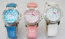 1 pcs HelloKitty Cystal lady Girls wrist Student leather Watch quartz ZW86