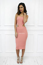 Glamzam New Womens Ladies Strapless Boobtube Midi Bodycon cut out Pink Dress