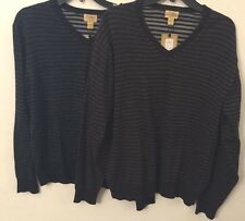 Tre Vero Mens Sweater Cotton Blend V-Neck Striped Pull-Over Brown Navy L XL XXL