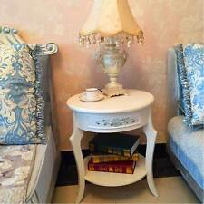 French Vintage White Chic Bedside Table Cabinet, Side Table Nightstand Bedroom
