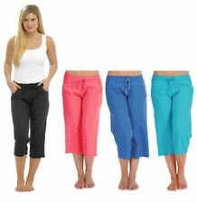 Womens cropped linen trousers 3/4 pants summer 10 12 14 16 18