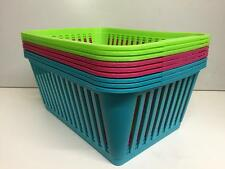 3 x Whitefurze Handy Basket Storage Laundry Office Home - Pink Green Teal 37CM