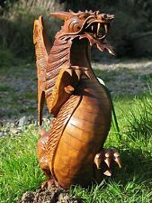 Dragon Wood Carving Statue Mythical Gothic Figure Solid Indian Hardwood