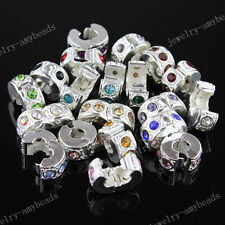 20Pcs DIY Bracelets Czech Crystal Silver Stopper Clip Locks Spacer Charm Beads