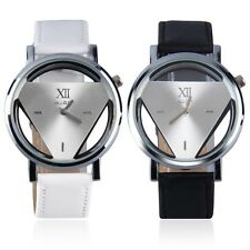 Stainless Steel Hollow Triangule Dial PU Leather Band Quartz Wrist Watch QT