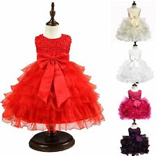 Kids Lace Flower Beads Dress Girls Bowknot Princess Birthday Party Formal