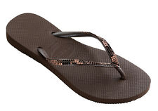 Havaianas Slim Metal Mesh Women Flip Flops - Dark Brown