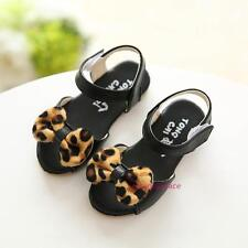 New 2016 Summer Kids Baby Girls Roman Leopard Bow Leather Casual Sandals Shoes