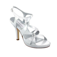 Dyeable White Prom Bridal Bridesmaid Platform Women's High Heel Shoe Med & Wide