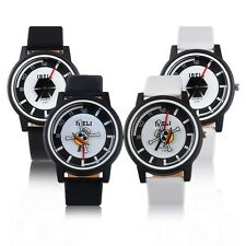 Men's Stainless Steel Back Leather Band Casual Watch Fashion  Wristwatch Gift QT