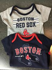 BOSTON RED SOX BABY CREEPER-BLUE or GREY W/REDSOX LOGO -ALL SIZES-BRAND NEW