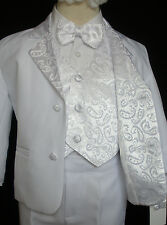 New Boys Children Formal Tuxedo Communion Baptism Church Suit White sz: 8 - 20