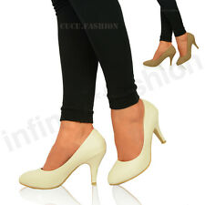New Womens Ladies Mid High Stiletto Heel Casual Pump Formal Court Shoes Size 3-8