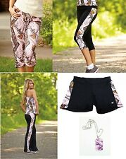 MOSSY OAK PINK BLACK CAMO ATHLETIC WORKOUT LEGGINGS YOGA CAPRIS PANTS OR SHORTS