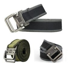 Army Style Pin Buckle Military Mens Sports Web Canvas Belt Double Ring Waistband