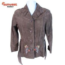 Rue 21 Women Brown Leather Suede Belted Jacket Coat Warm Medium FREE Shipping!