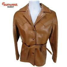 Womens Leather Butterscotch Color Belted Jacket Coat Warm Medium FREE Shipping!