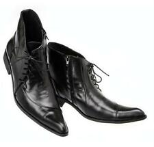 Italian mens lined dress shoes black lace-up leather pointed toe wing tip size 9