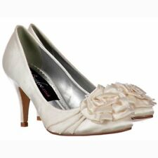 NEW LADIES WOMENS IVORY SATIN LOW HEEL KITTEN BRIDAL WEDDING COURT SHOES UK4-8
