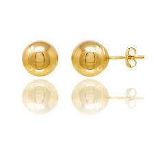 14KT Gold Ball Stud Earrings With Butterfly Pushbacks Free Box!