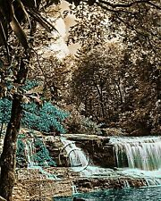 Color at Falls -Teal Home Decor Picture Wall Art Landscape Trees Water Falls 1