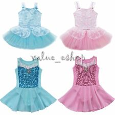 Girl Kids Lace Leotard Ballet Dance Dress Skating Sequin Ballet Dress Tutu Skirt