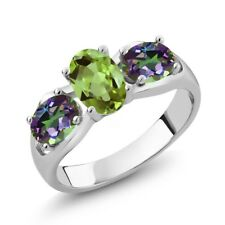 1.80 Ct Oval Green Peridot Green Mystic Topaz 925 Sterling Silver Ring