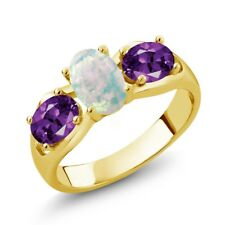 1.33 Ct Oval Cabochon White Simulated Opal Purple Amethyst 14K Yellow Gold Ring