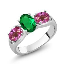 1.60 Ct Oval Green Simulated Emerald Pink Mystic Topaz 925 Sterling Silver Ring