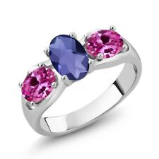 1.65 Ct Oval Checkerboard Blue Iolite Pink Created Sapphire 18K White Gold Ring