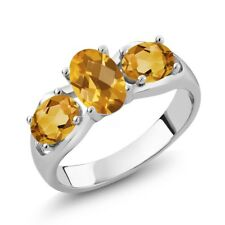 1.50 Ct Oval Checkerboard Yellow Citrine 14K White Gold Ring