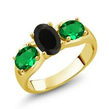 1.60 Ct Oval Black Onyx Green Simulated Emerald 18K Yellow Gold Ring