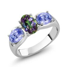 1.70 Ct Oval Green Mystic Topaz Blue Tanzanite 18K White Gold Ring