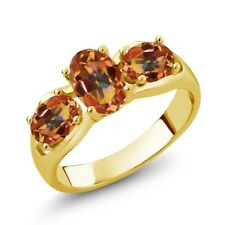 1.80 Ct Oval Ecstasy Mystic Topaz 18K Yellow Gold Plated Silver Ring