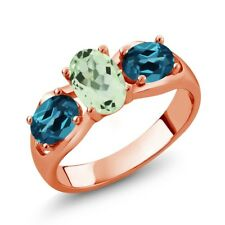 1.75 Ct Oval Green Amethyst London Blue Topaz 18K Rose Gold Ring