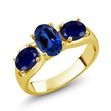 2.00 Ct Blue Simulated Sapphire Blue Sapphire 18K Yellow Gold Plated Silver Ring