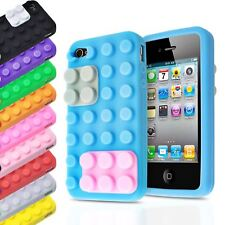 3D BLOCKS BRICK BUILDING LEGO SOFT SILICONE STAND COVER CASE FOR APPLE IPHONE 4S